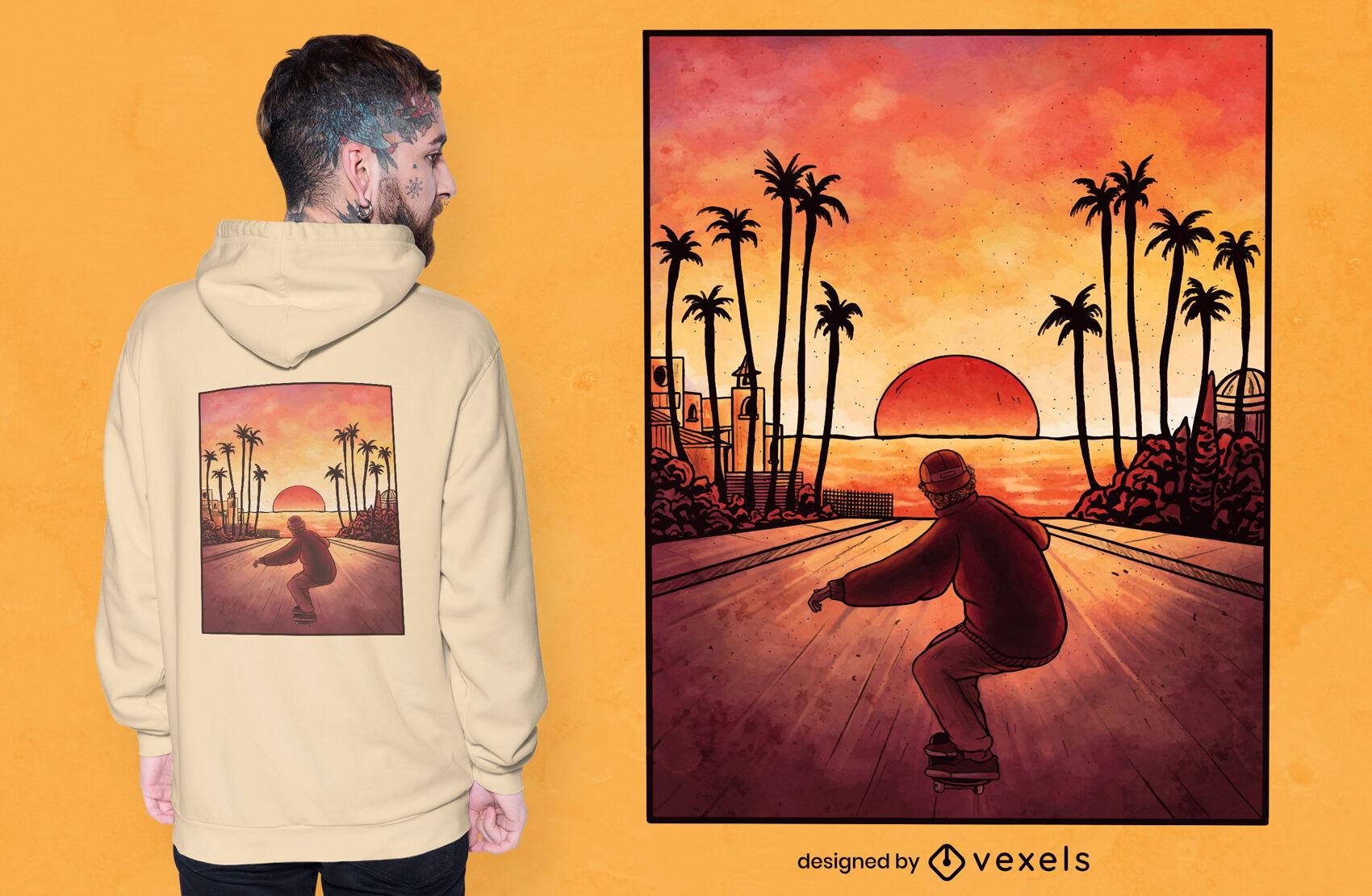 Design de camiseta em aquarela de skate downhill