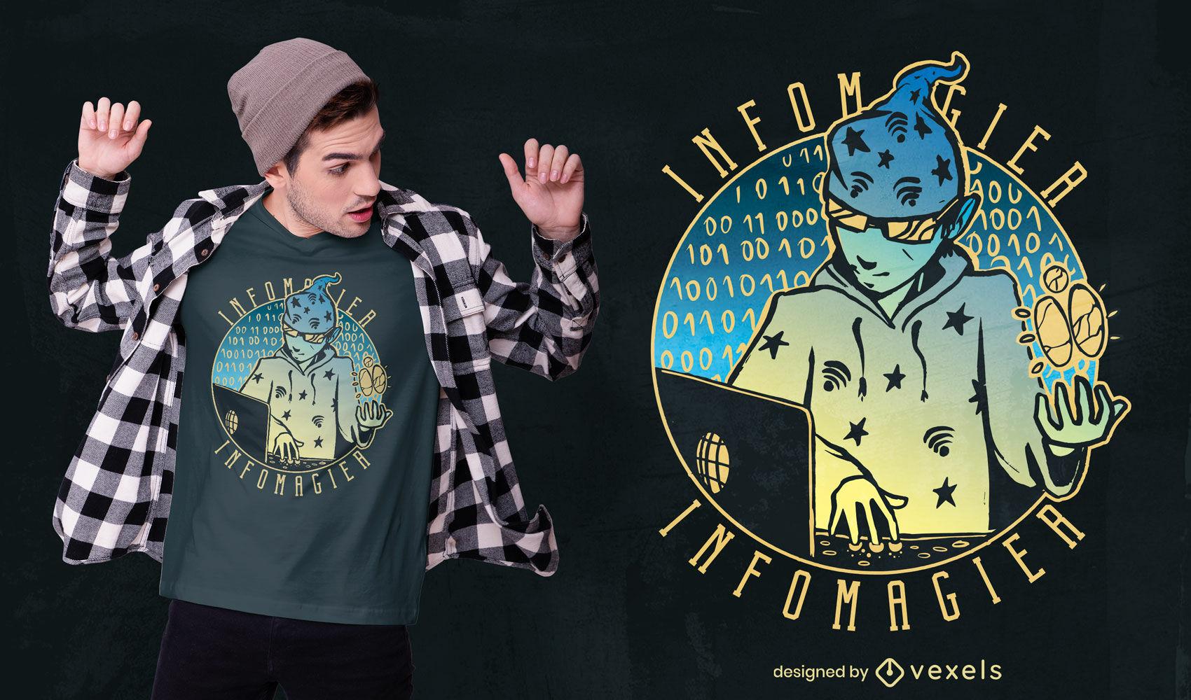 Diseño de camiseta infomagier alemán degradado hacker