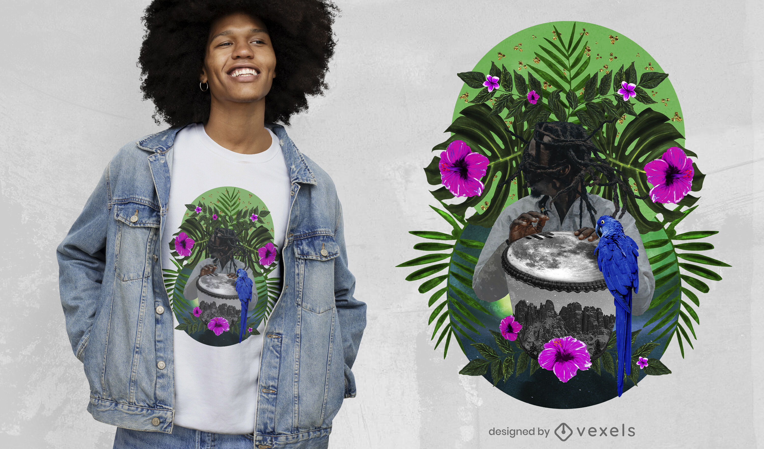 Exotic nature photographic collage t-shirt psd