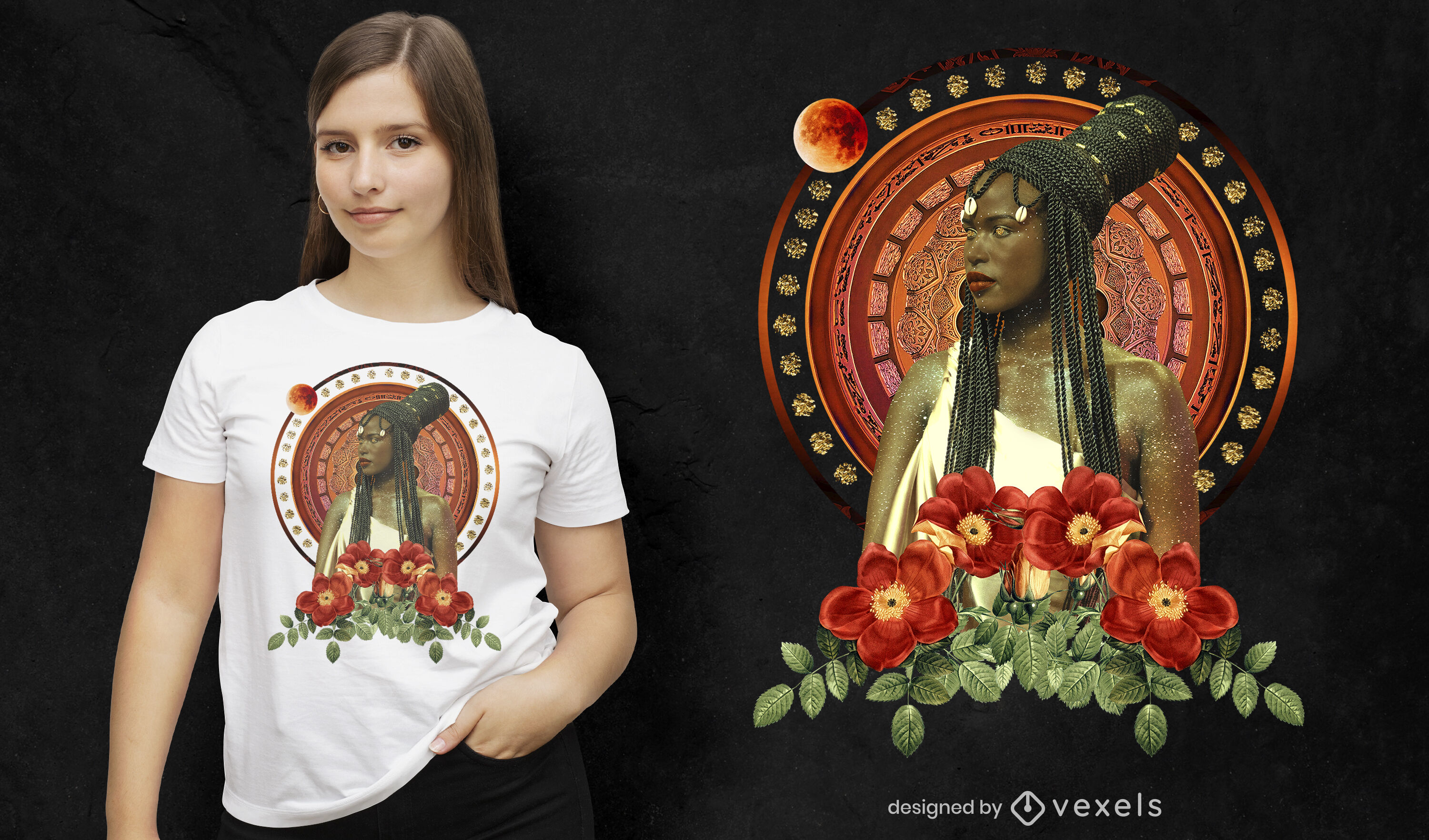 Exotic woman photographic t-shirt psd