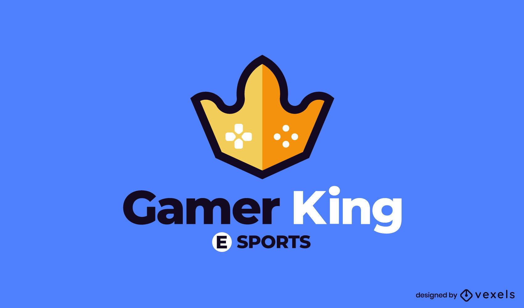 Logotipo de trazo de color de corona de juego