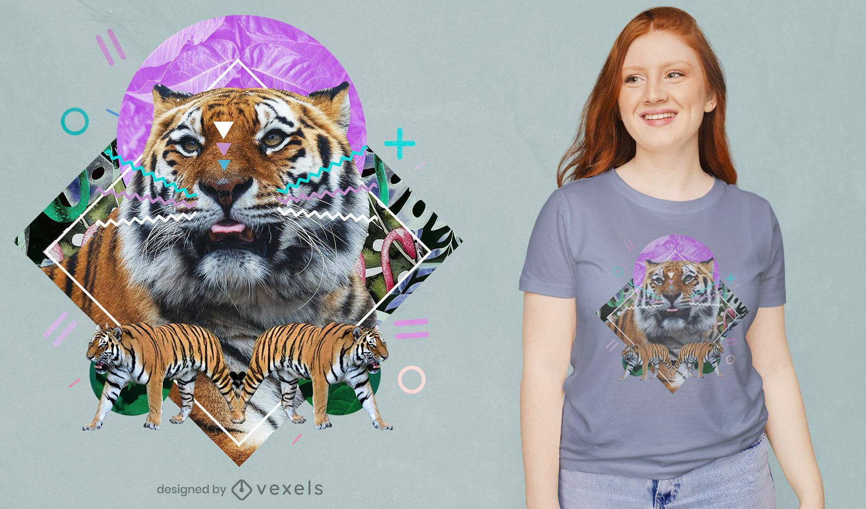 Camiseta de colagem de animal selvagem tigre psd