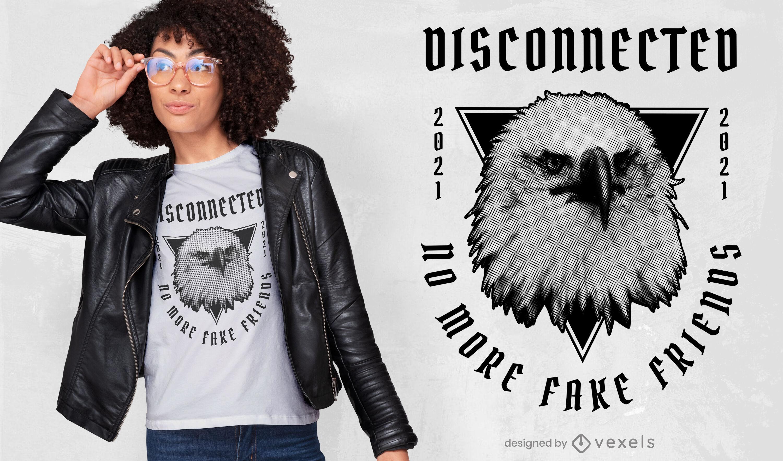 Camiseta fotográfica cabeza de águila enojada psd