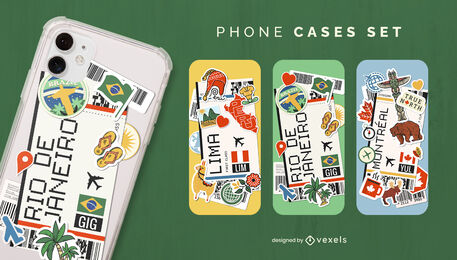 Boarding pass tourism phone case set