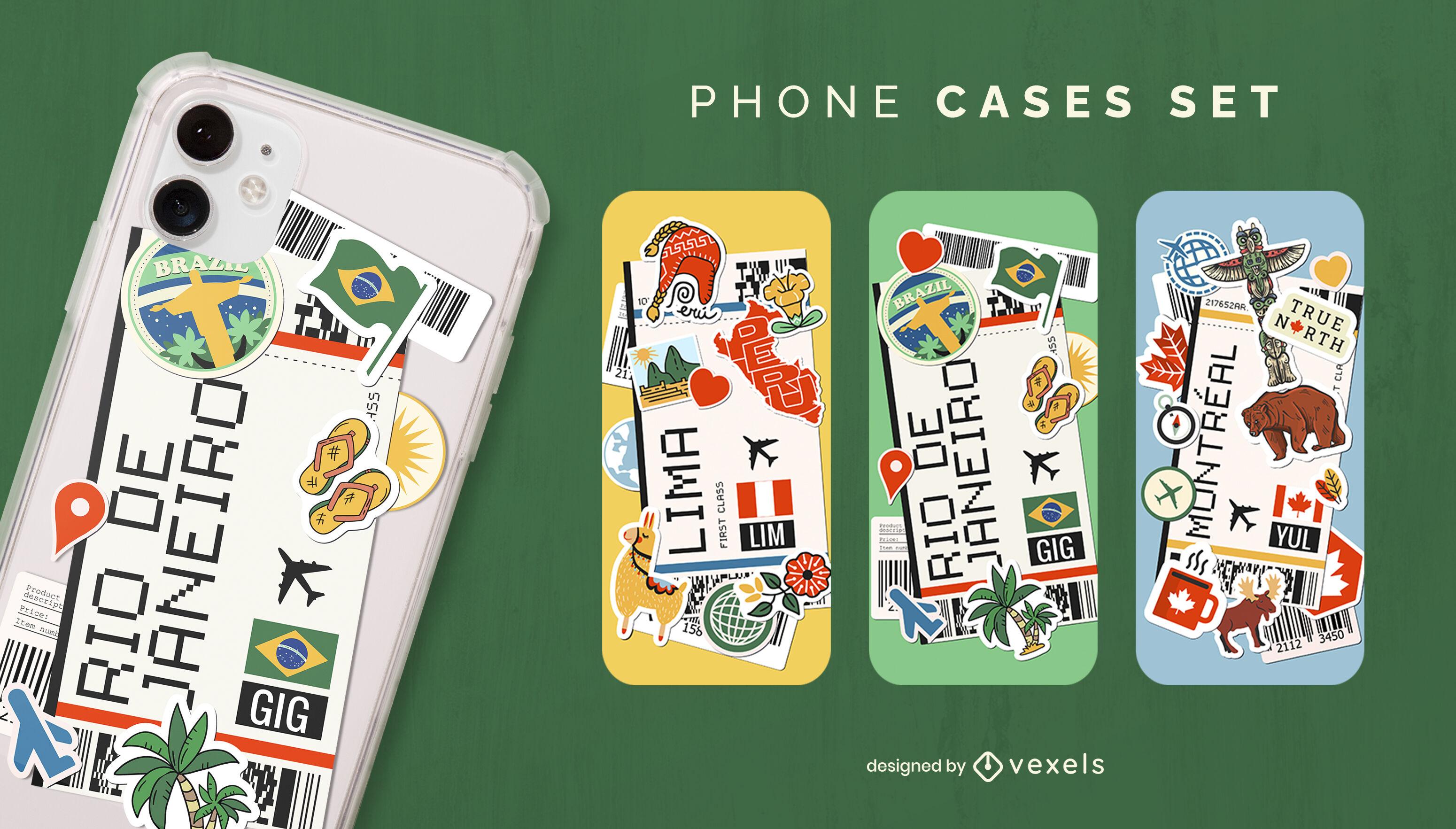 Conjunto de capa de telefone de turismo para cartão de embarque