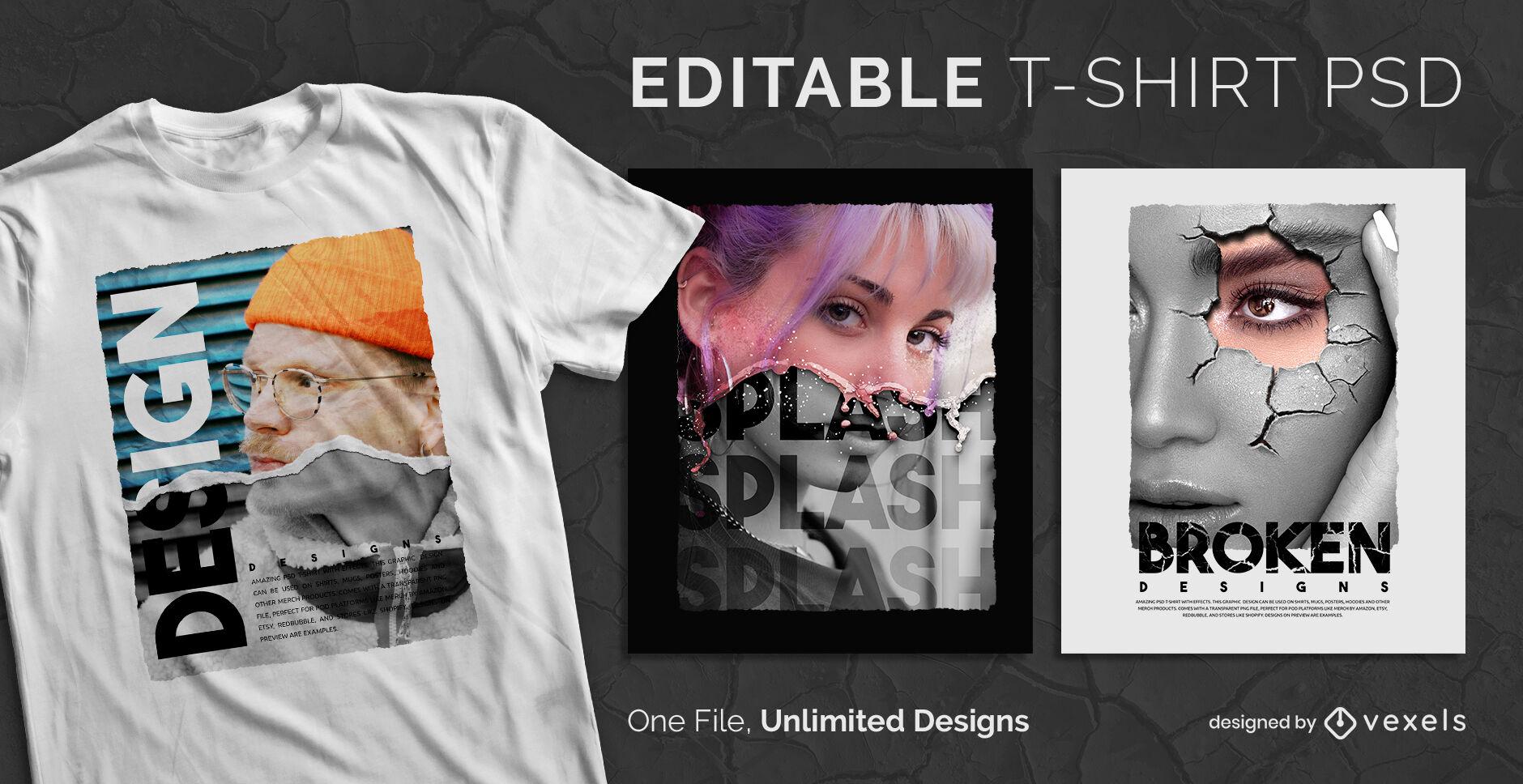 Ripped paper editable psd t-shirt