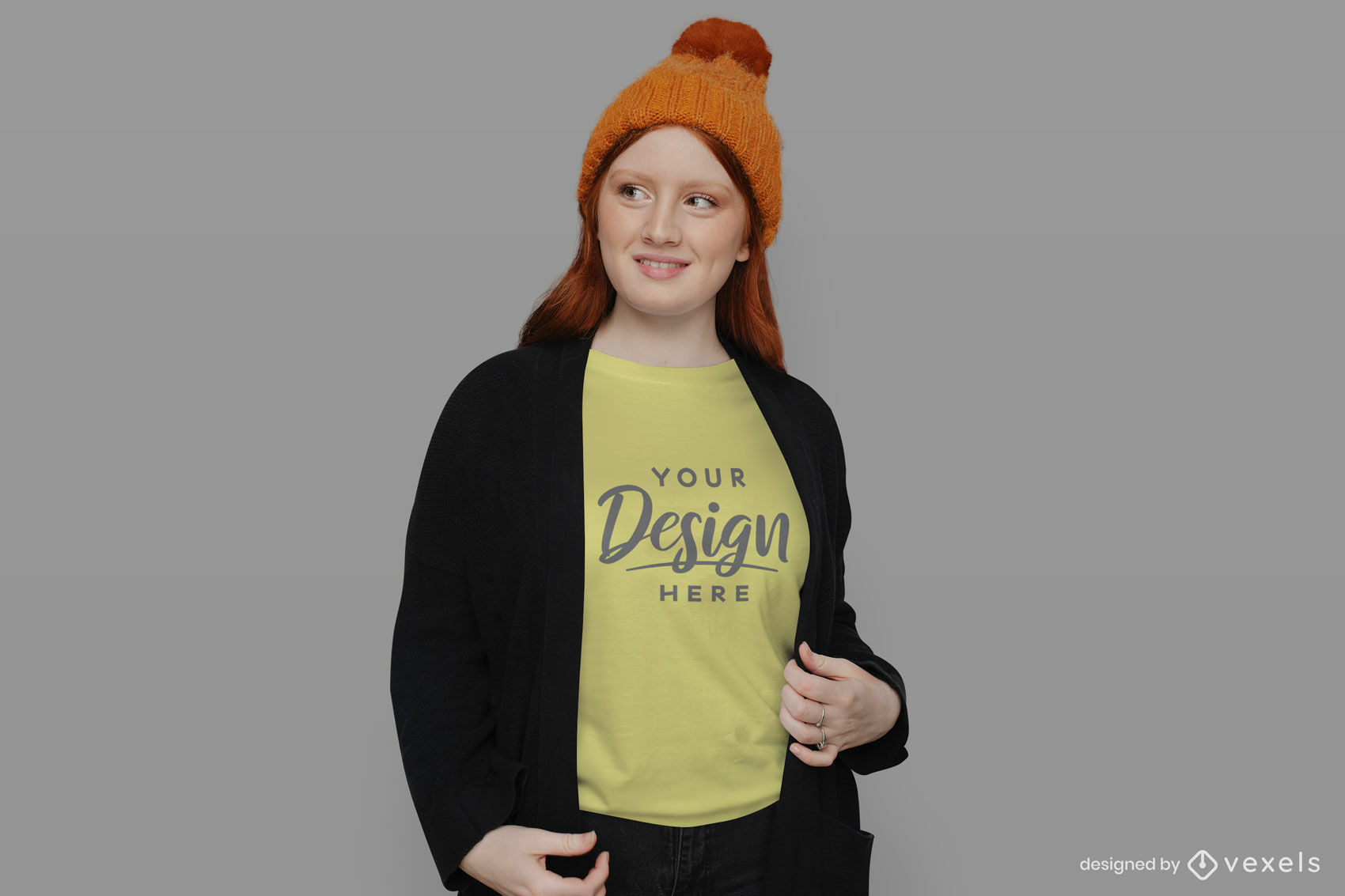 Young girl orange hat t-shirt mockup