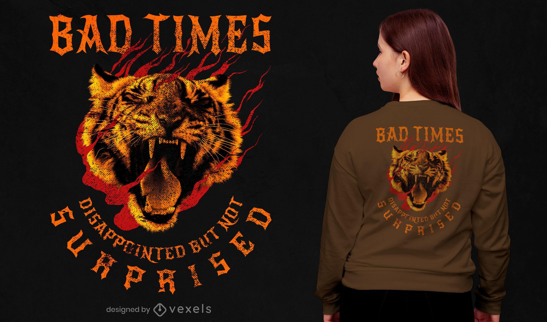 Camiseta tigre salvaje animal rugiente psd
