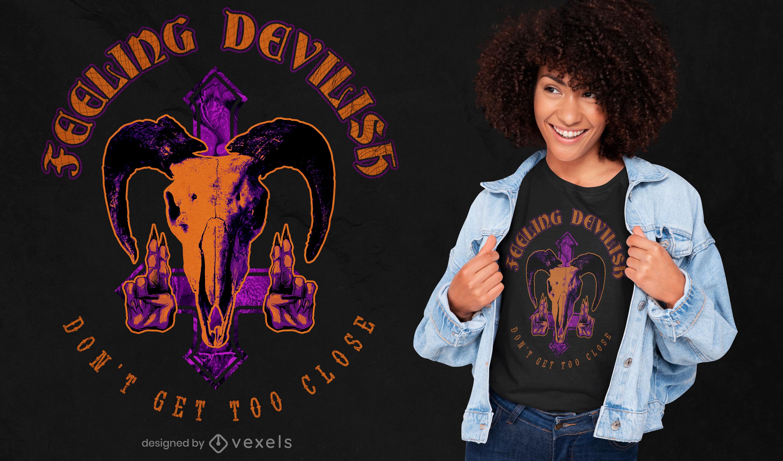 Skull devil mask photographic t-shirt psd