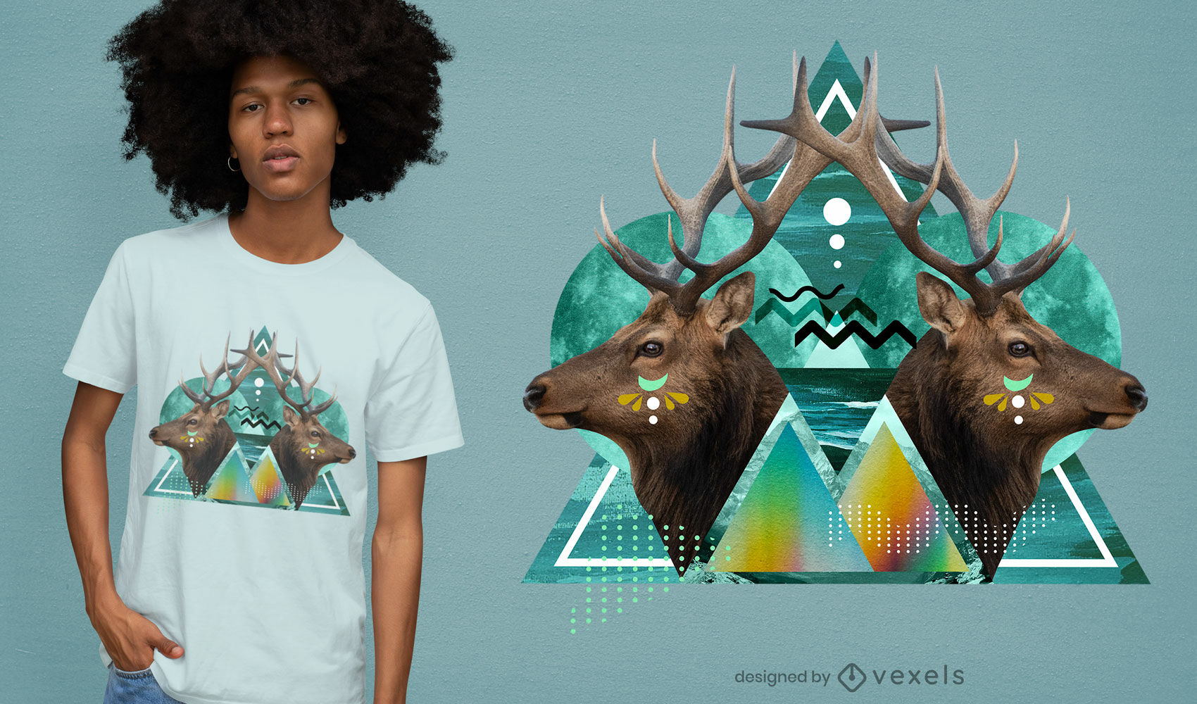 Design de camiseta psd geométrica de veados psicodélicos