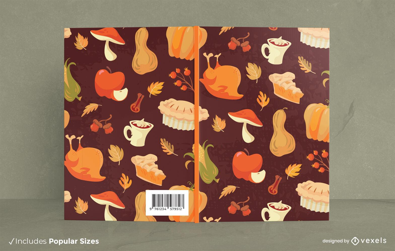 Diseño de portada de libro de comidas de acción de gracias.