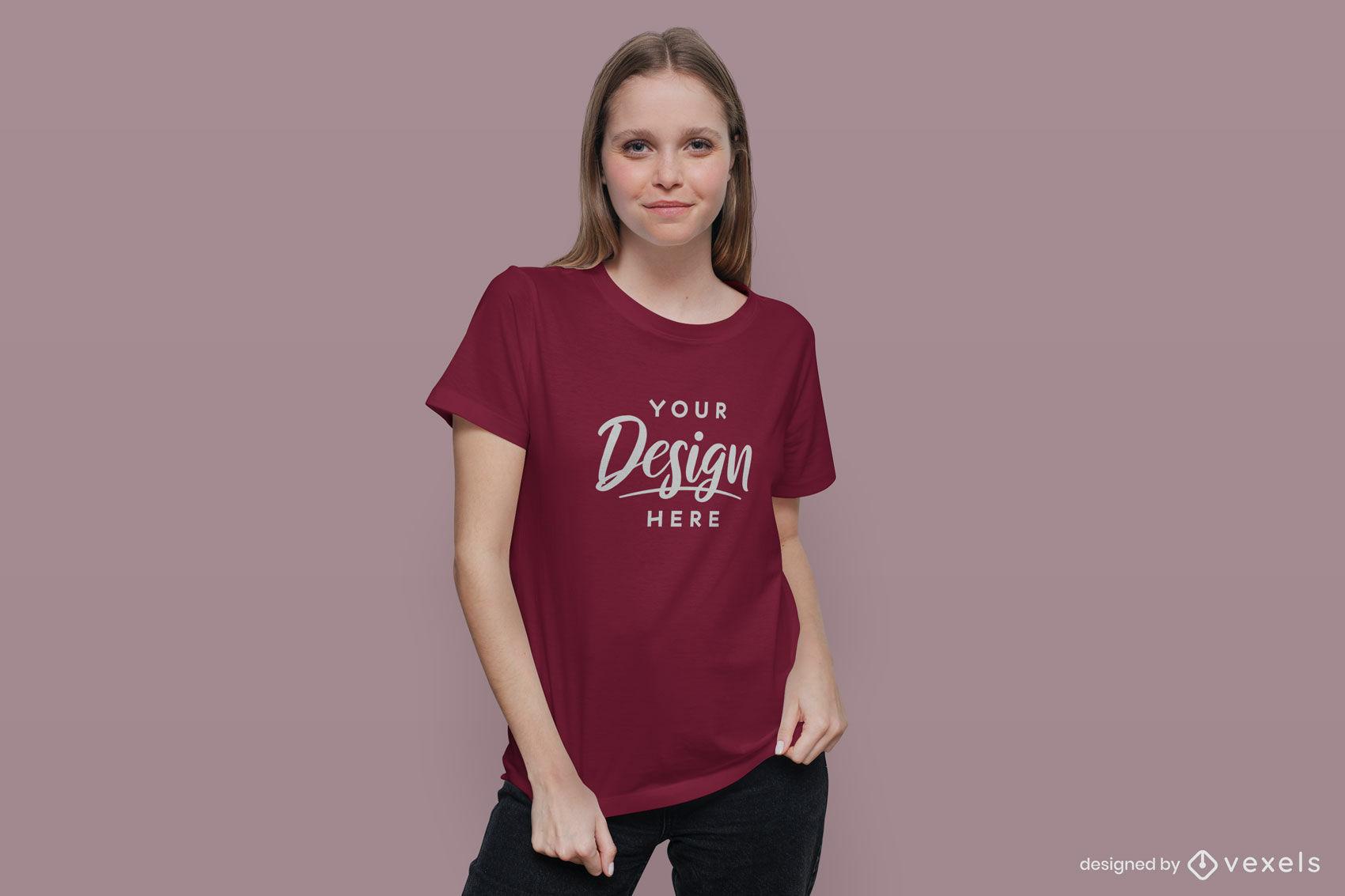 Red t-shirt girl mockup in dark background