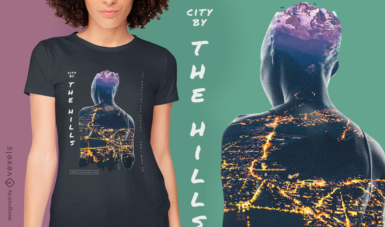 Camiseta psd de doble exposici?n de mujer de ciudad de noche