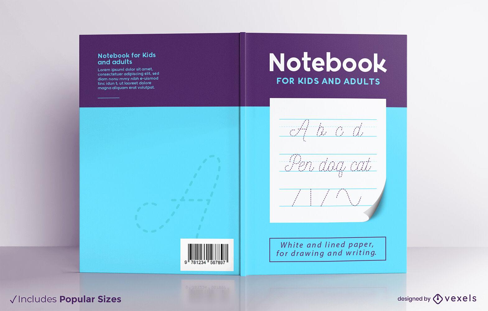 Diseño de portada de cuaderno para niños y adultos.