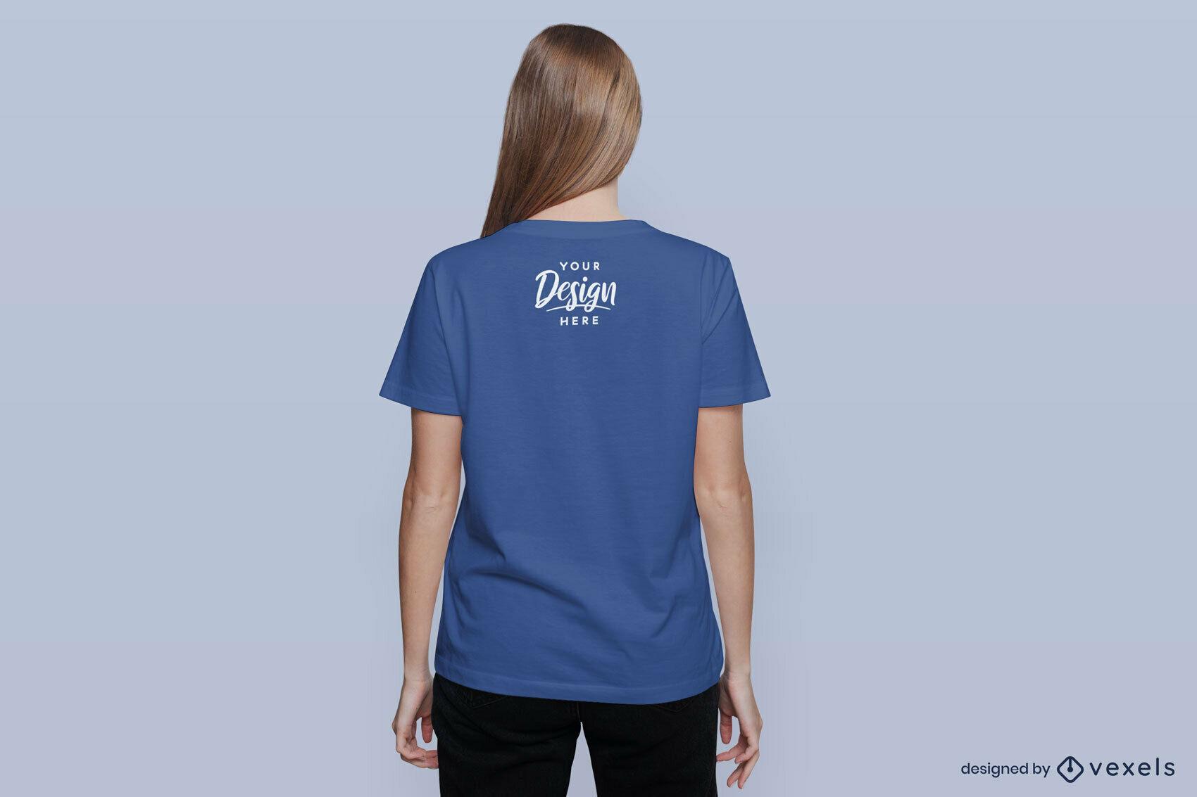 Woman standing backwards t-shirt mockup