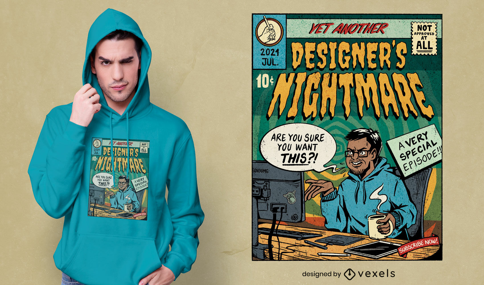 Comic book designer nightmare t-shirt psd