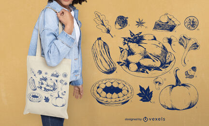 Thanksgiving traditional food tote bag
