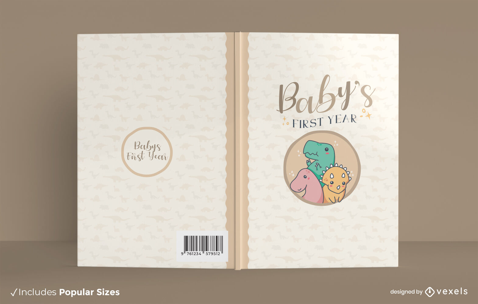 Baby dinosaurs cute book cover design