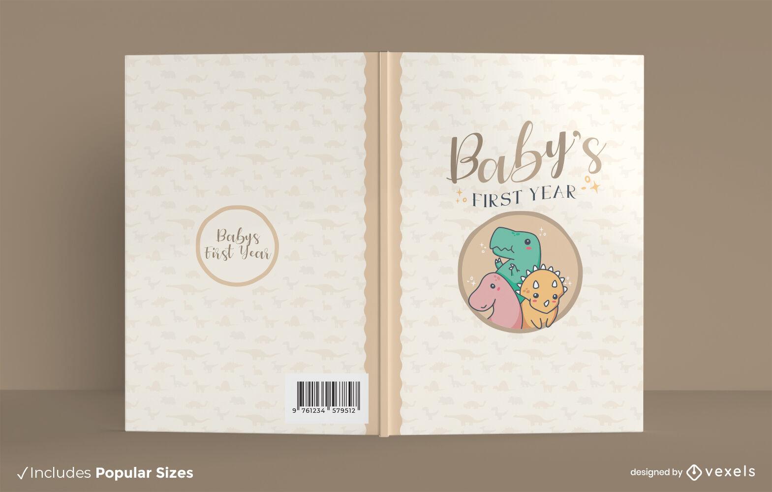 Design de capa de livro fofa de dinossauros bebês