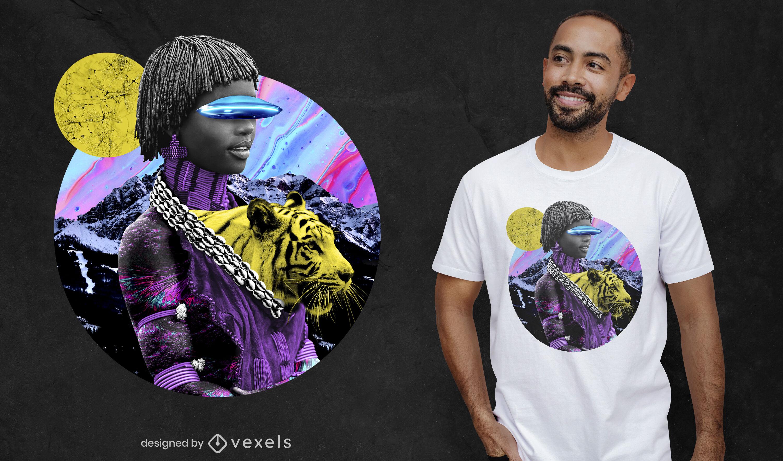 Diseño de camiseta psd de collage fotográfico de niña psicodélica