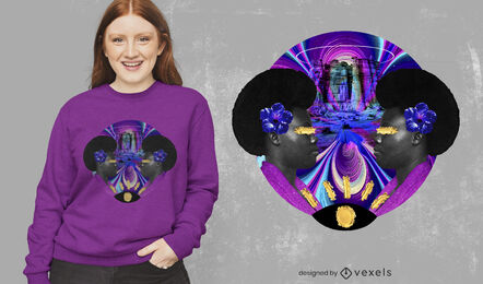 Psychedelic woman photographic collage psd t-shirt design
