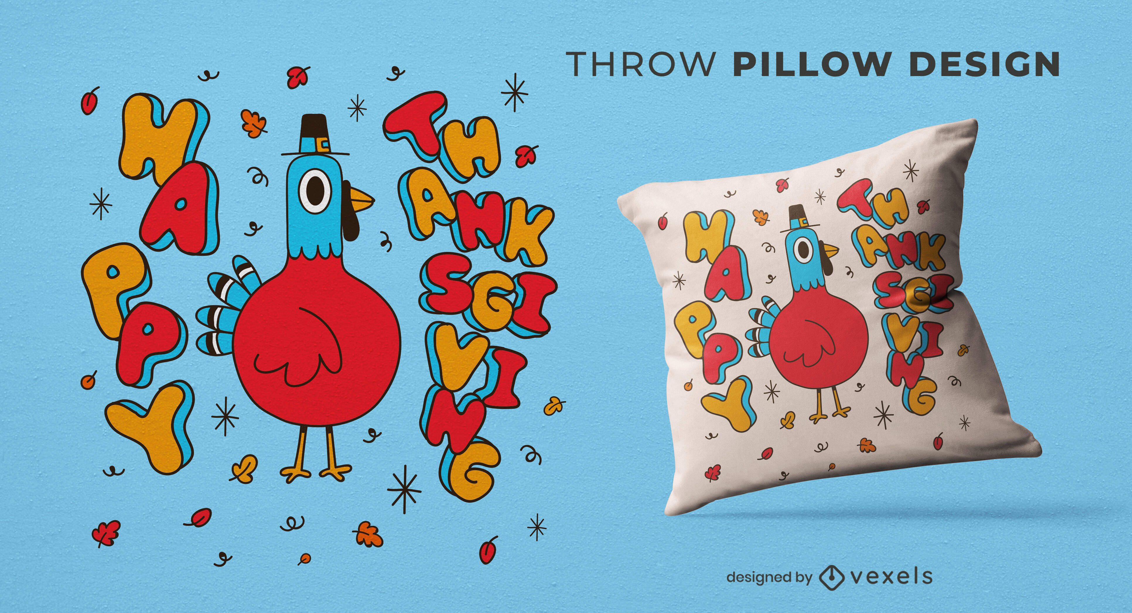 Thanksgiving turkey cartoon throw pillow