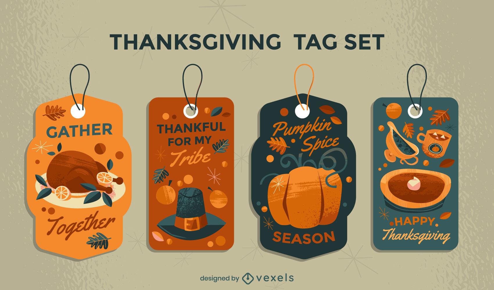 Conjunto de etiquetas de comida navideña tradicional de acción de gracias