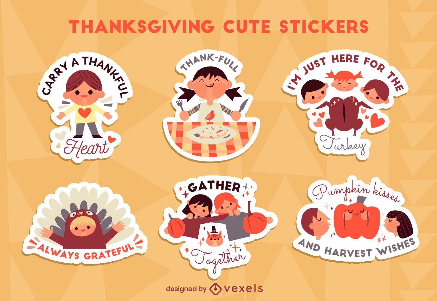 Conjunto de pegatinas de niños lindos de acción de gracias