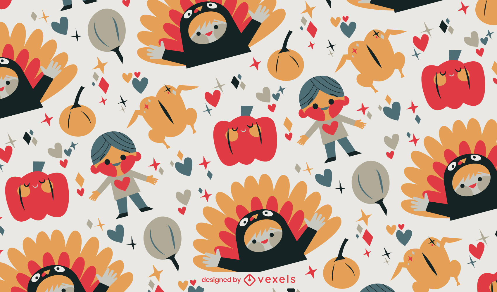 Diseño de patrón de niños de acción de gracias