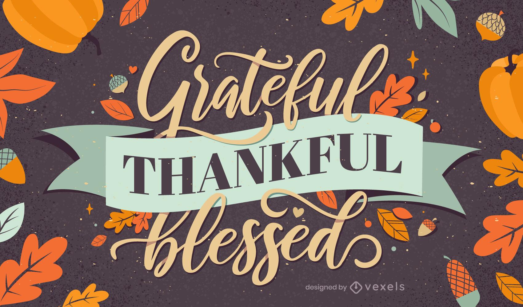 Diseño de letras agradecidas de acción de gracias