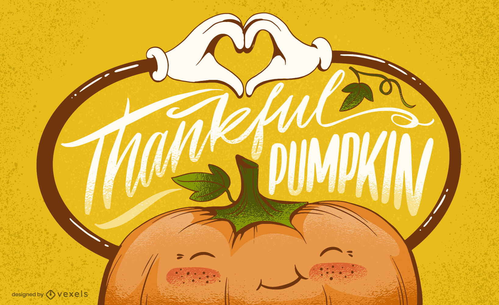 Happy pumpkin thanksgiving lettering