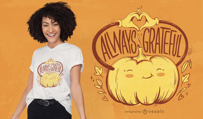 Diseño de camiseta de calabaza feliz de acción de gracias