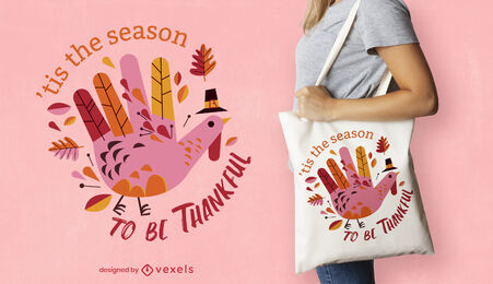 Thanksgiving turkey hand tote bag