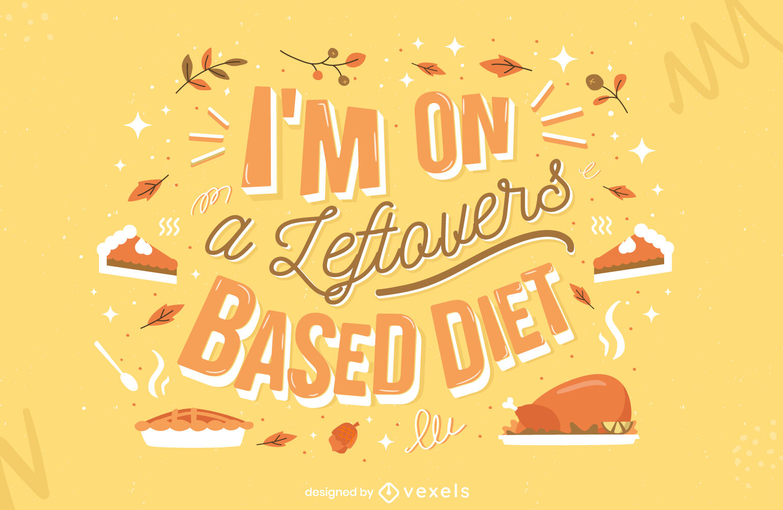 Diseño de letras de comida sobrante de acción de gracias