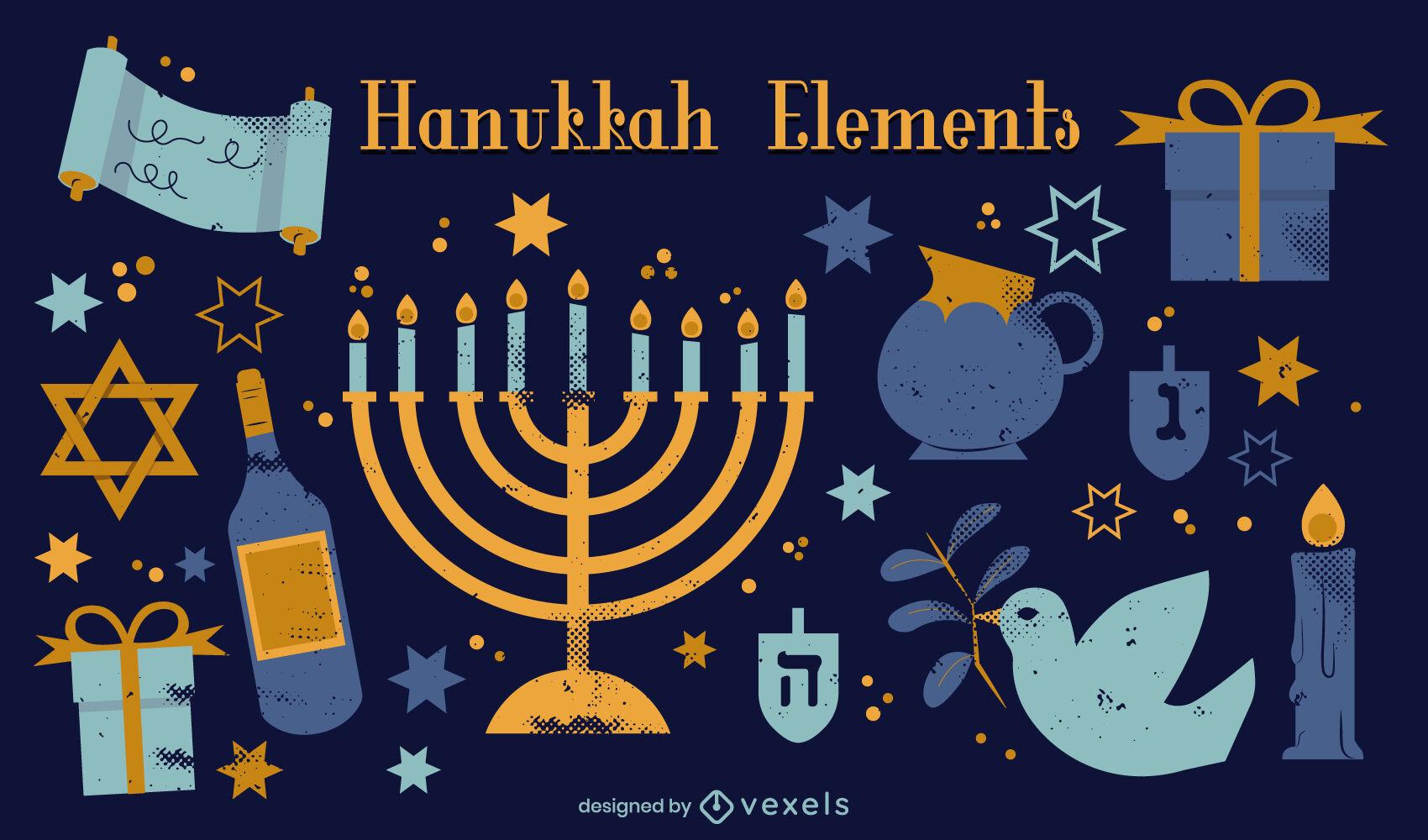 Hanukkah festivity jewish elements set