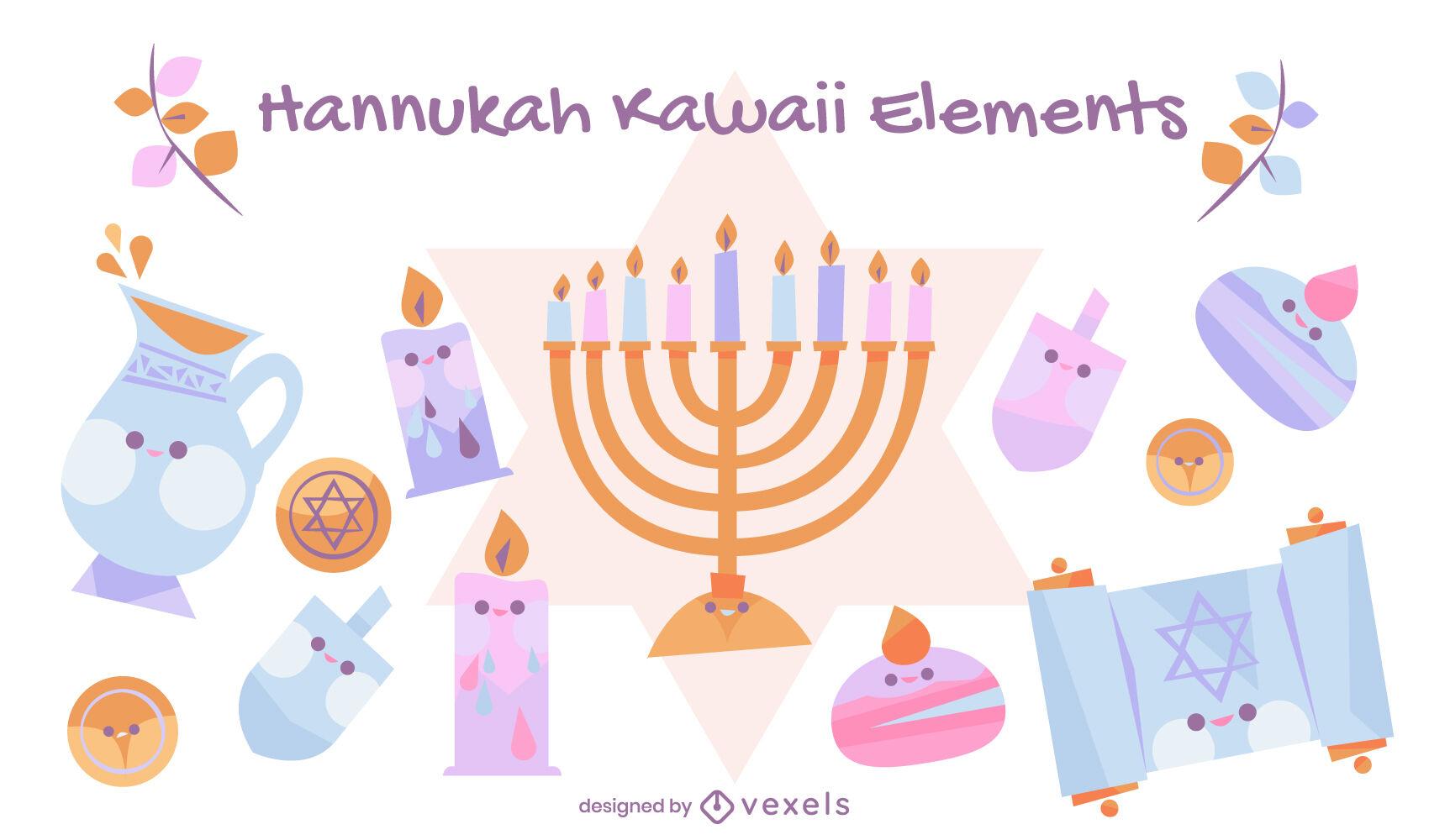 Hanukkah kawaii jewish elements set