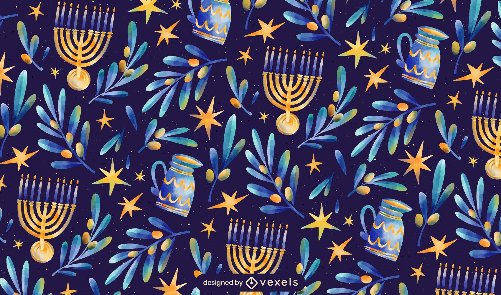 Desenho de padrão de festa judaica de Hanukkah