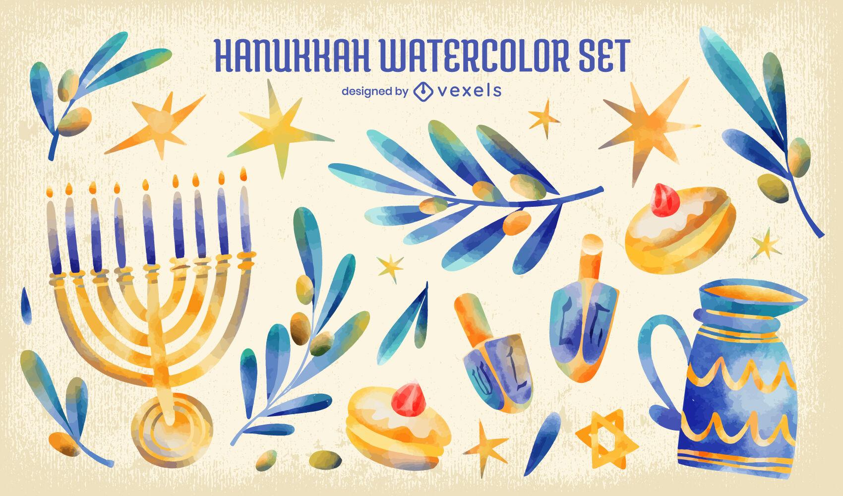 Conjunto de acuarela de elementos judíos de Hanukkah