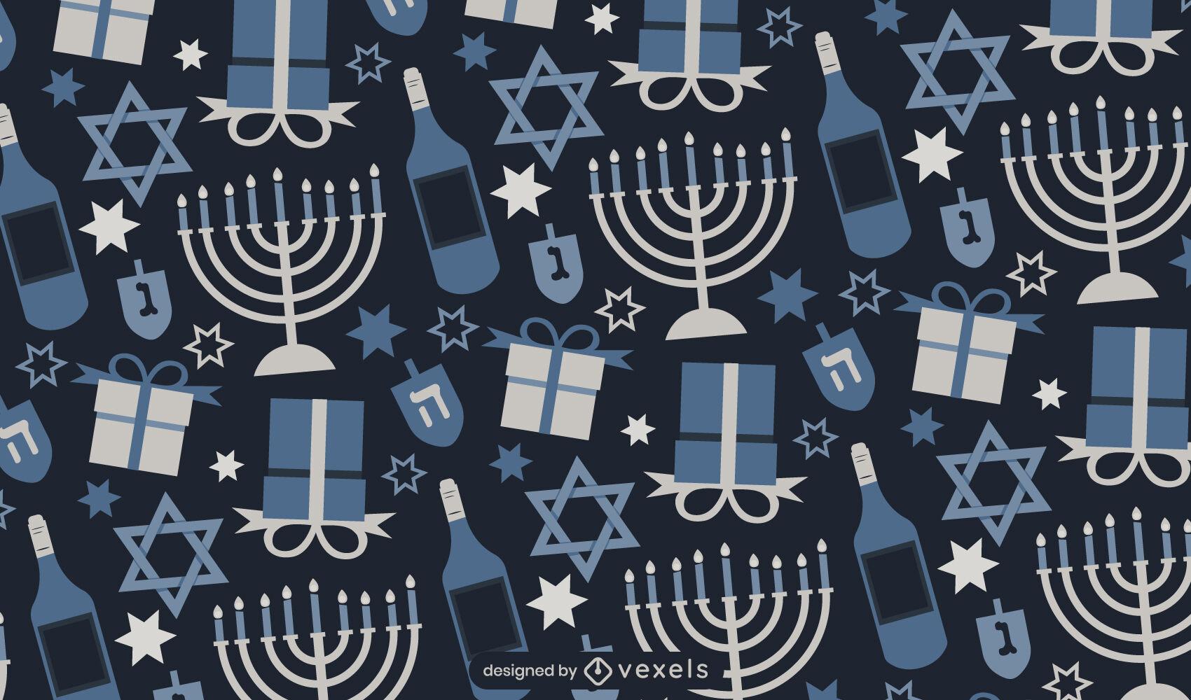 Dise?o de patr?n de plata festividad de Hanukkah
