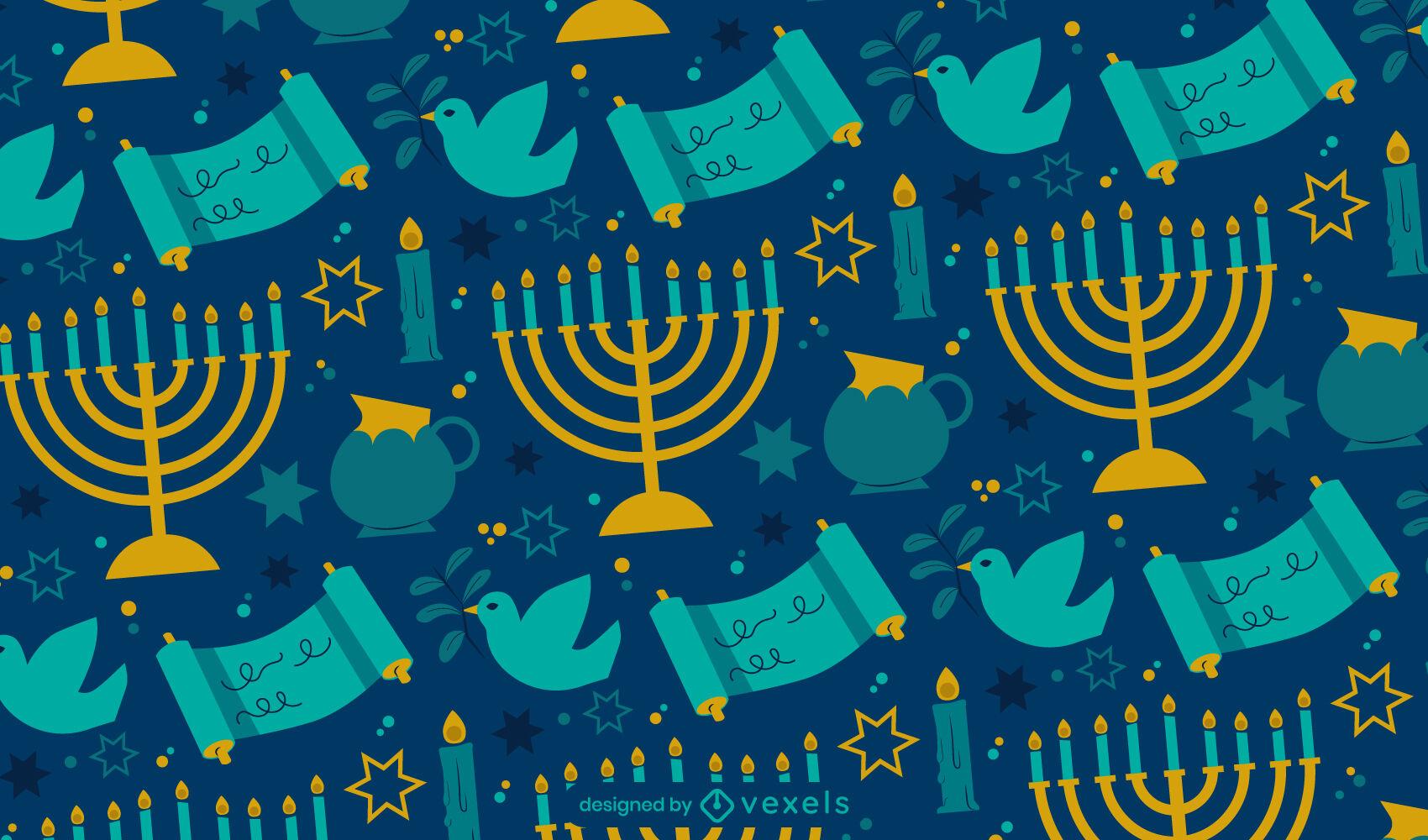 Desenho de padrão de feriado judaico de Hanukkah