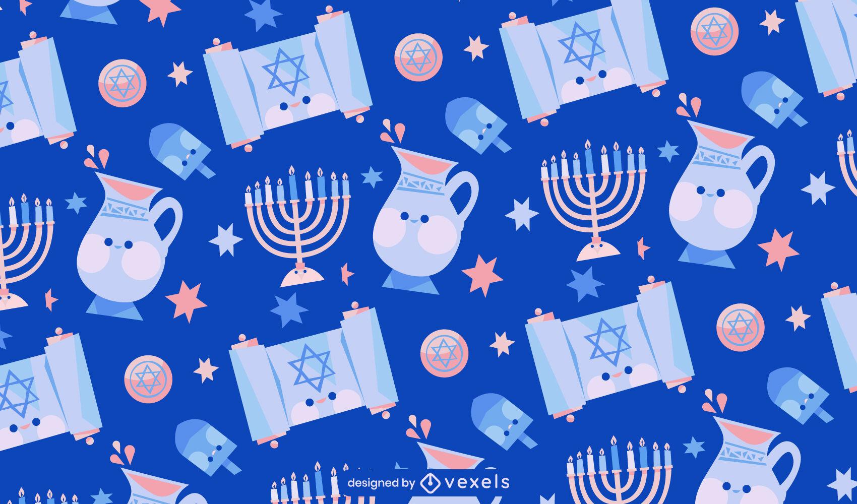 Dise?o de patr?n kawaii de la fiesta jud?a de Hanukkah