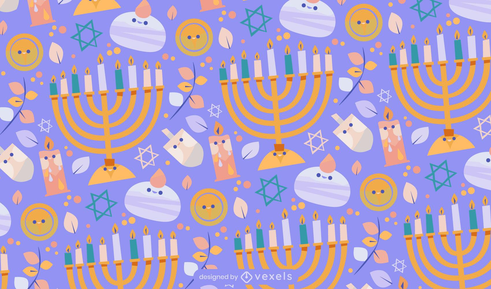 Dise?o de patr?n kawaii de festividad de Hanukkah
