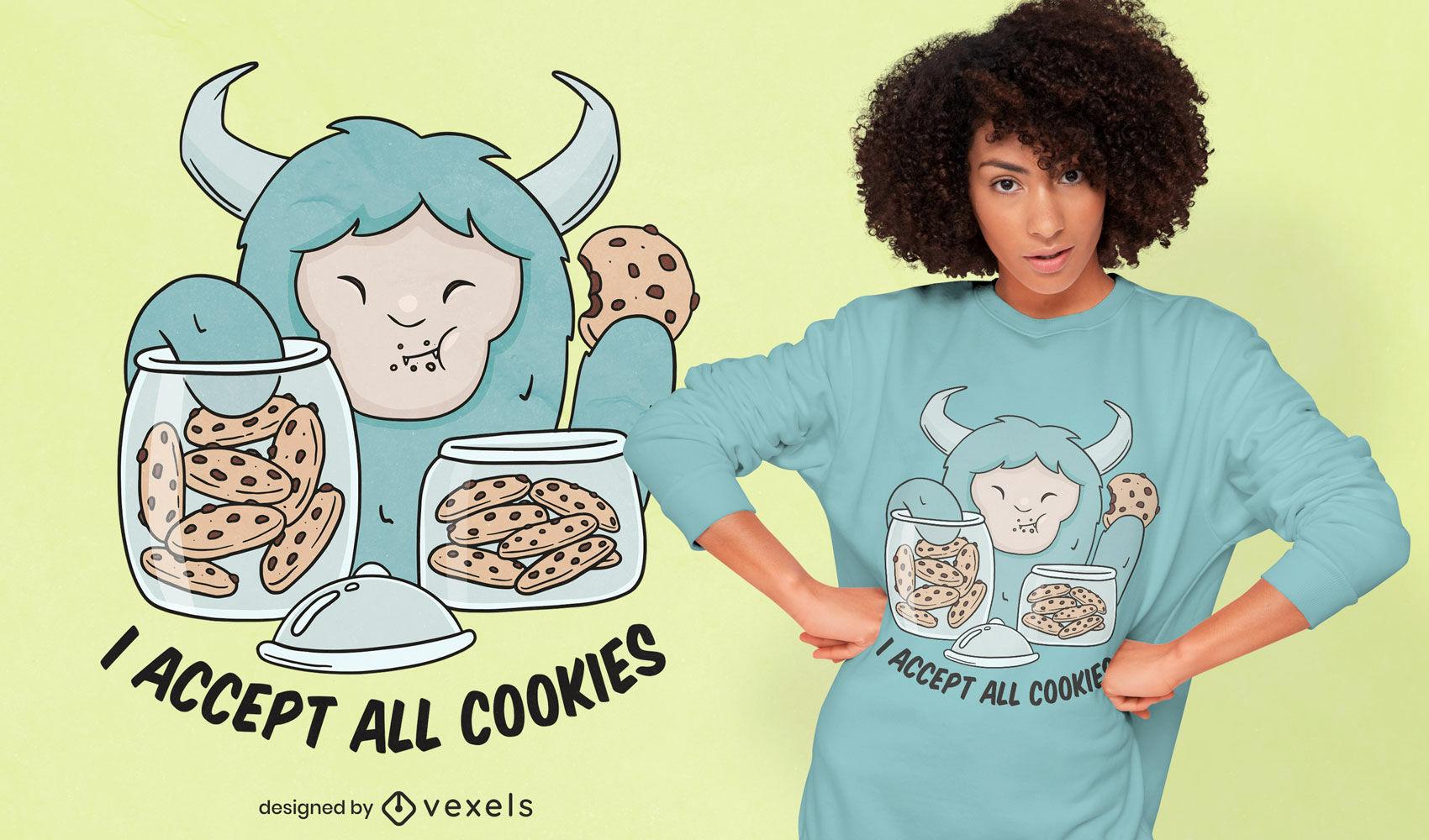 Yeti monster eating cookies t-shirt design