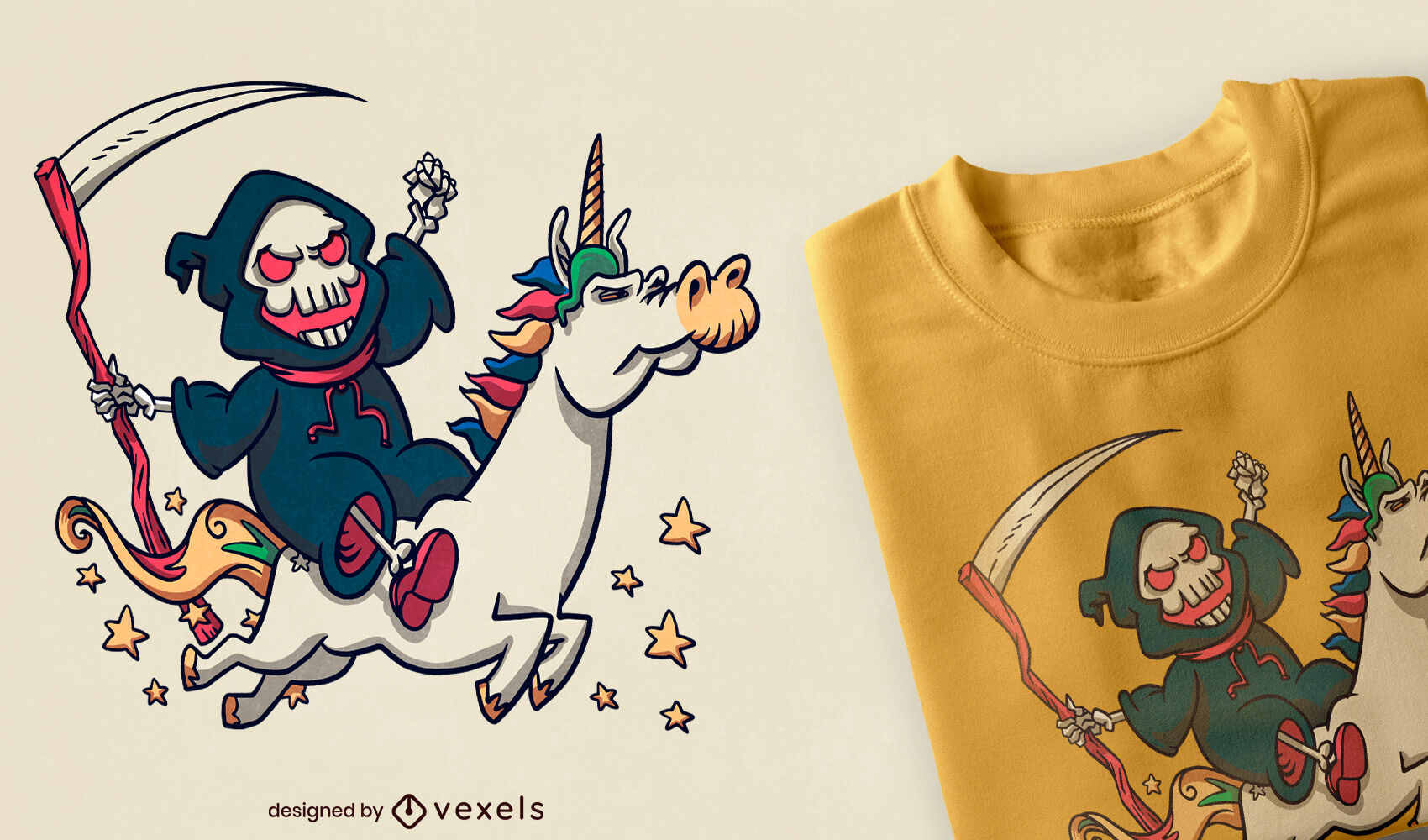 Muerte en dibujos animados de diseño de camiseta de unicornio