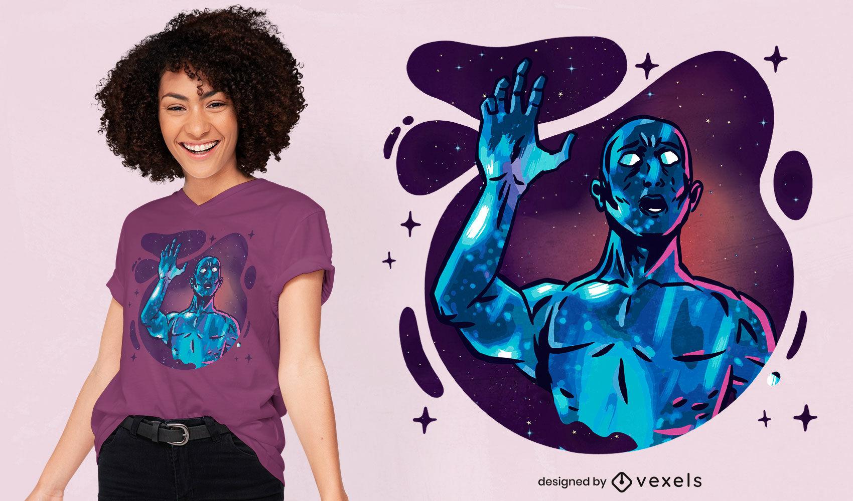 Diseño de camiseta de fantasía alienígena azul espacial