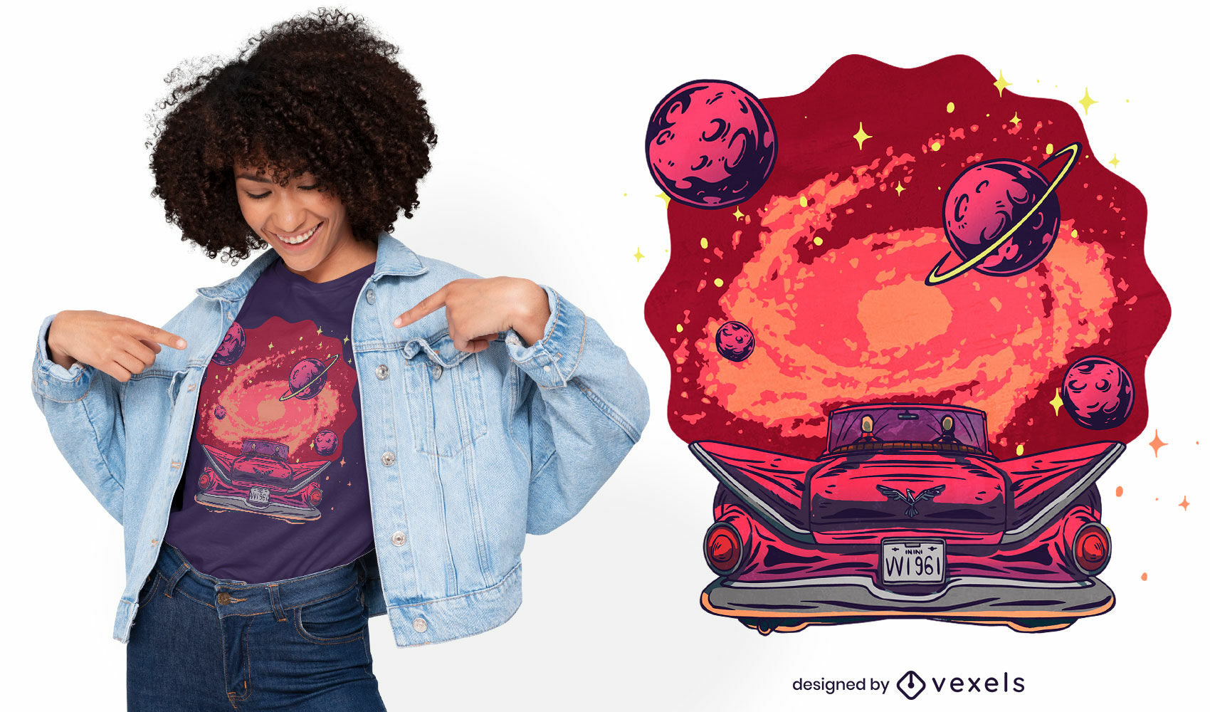 Design de galáxia e camiseta de carro