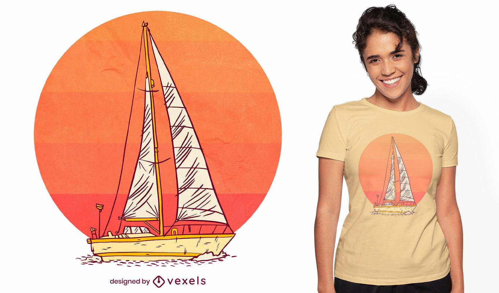 Segelboot im Sonnenuntergang T-Shirt Design