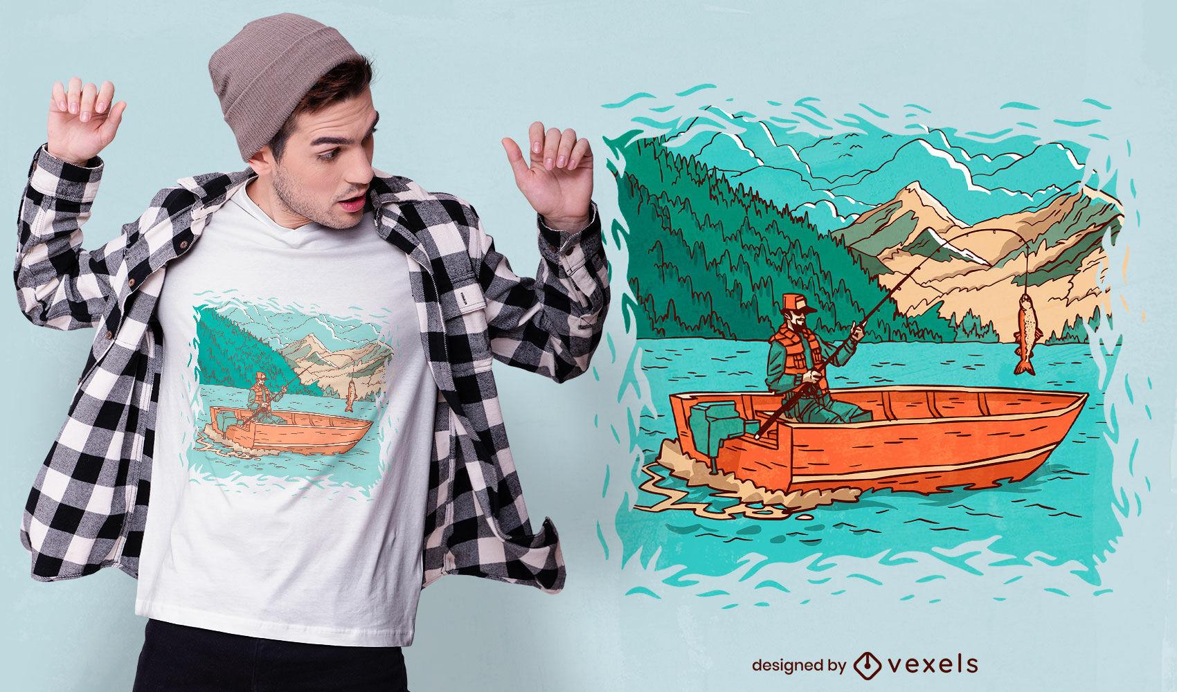 Pescador no design de t-shirt com ilustração de barco