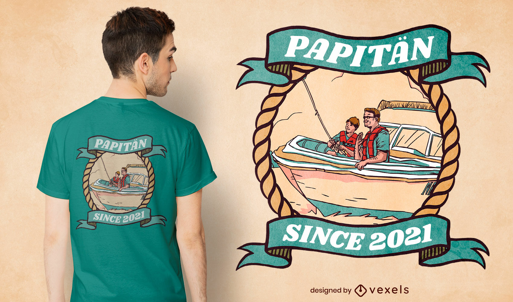 Padre e hijo en diseño de camiseta de barco.