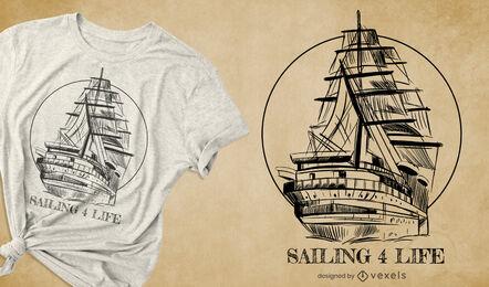 Hand drawn sailboat t-shirt design